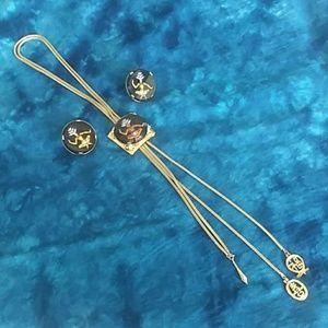 Vintage Goddess Bolo & clip earring set